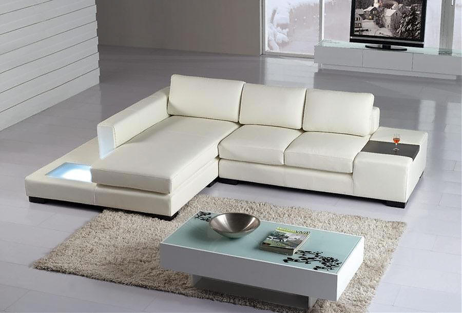 small sectional with light