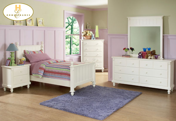 white kids wooden bed